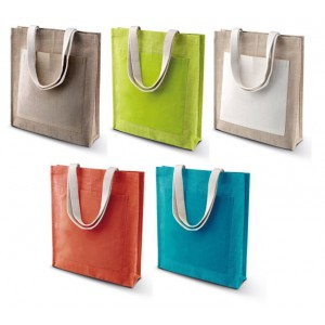 Shopper in juta con tasca frontale in cotone cm 38x42x10