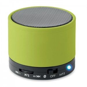 Speaker rotondo bluetooth in ABS con finitura gommata