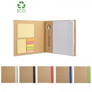 Notebook Quincy in carta riciclata con stick notes e penna