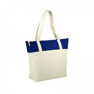 Shopper con zip in juta e cotone cm 50,8x15,2x39,4