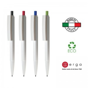 Penna a sfera e-Venti Recycled White Erga Made in Italy