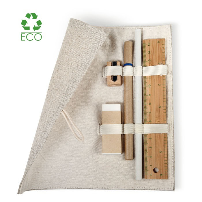 Eco Set astuccio in cotone e juta con accessori