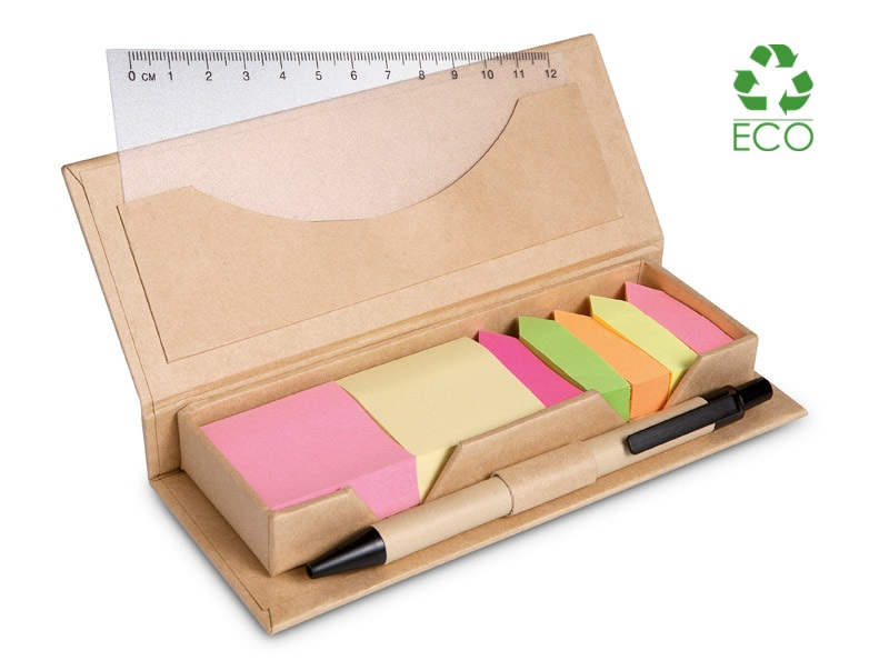 Set foglietti adesivi e segna-pagina con penna e righello