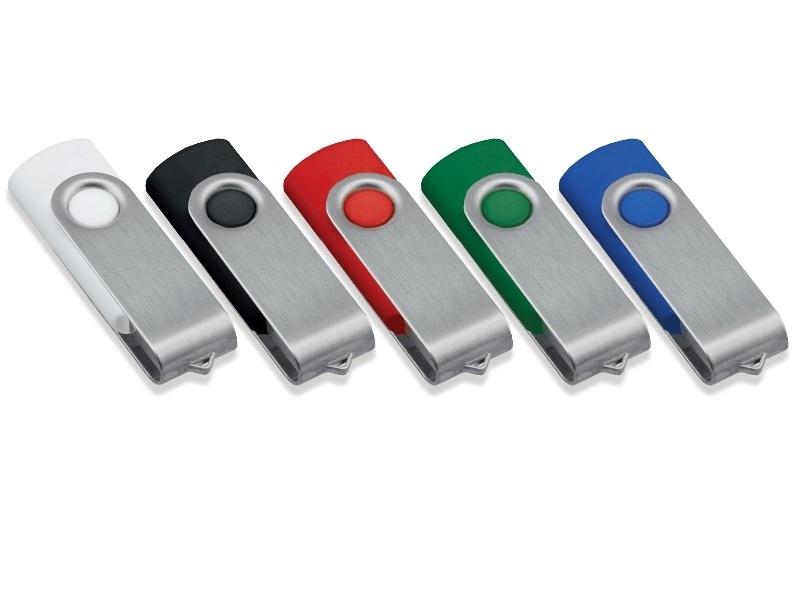 Chiave di memoria USB in plastica soft touch con cap rotante in metallo