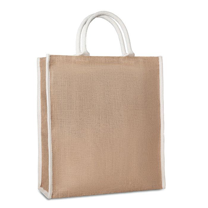 Shopper in juta con manici tubolari cm 38x42x16