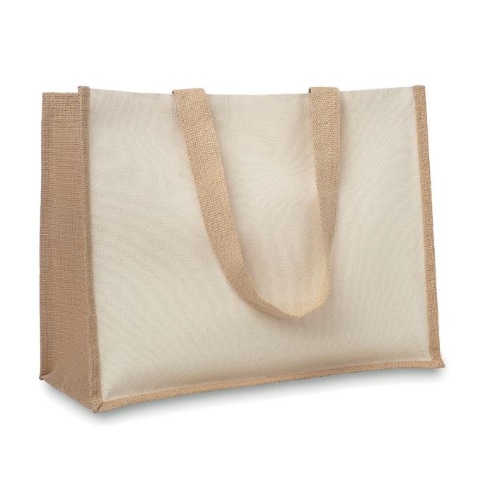 Shopper con soffietti in juta Campo dei Fiori cm 39x31,5x16