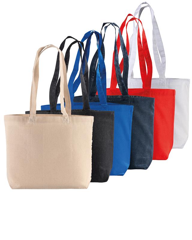 Shopper in cotone 120 g/m² con soffietto alla base cm 40x30x10