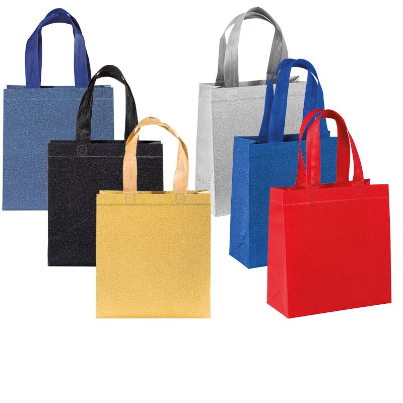 Shopper in TNT laminato glitter con soffietto cm 25x23x10