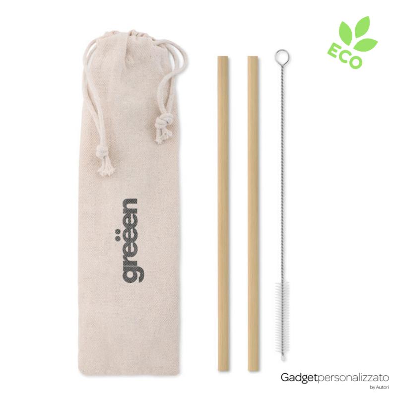 Set 2 cannucce in bambù con spazzola e sacchetto