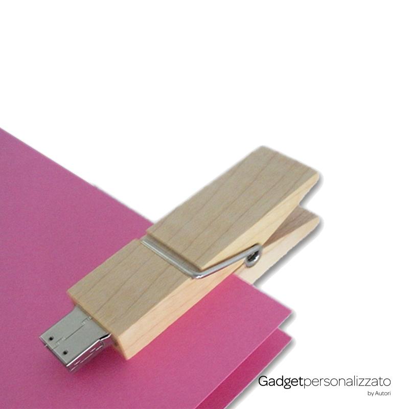 Chiave USB Molletta Legno o Bambù