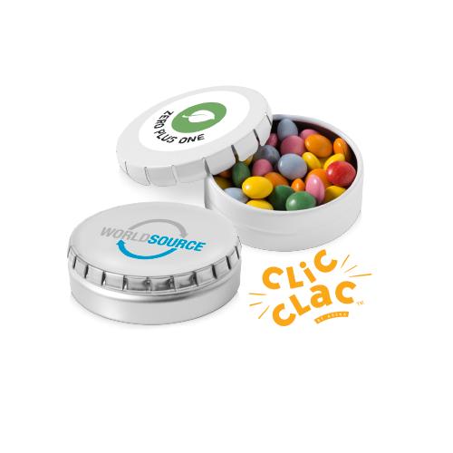 Caramelle in scatola di latta tonda Clic Clac