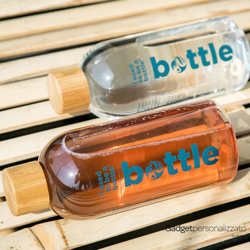 Bottiglia in rPet riciclato con tappo in bambù 500 ml