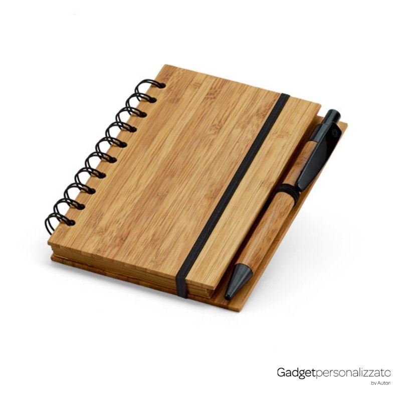 Taccuino tascabile in bambù con penna a sfera