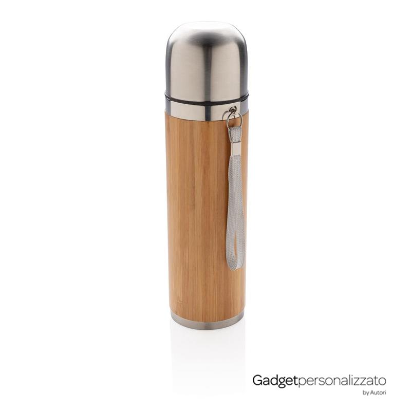 Termos da viaggio in acciaio inox rivestito in bamboo 400 ml