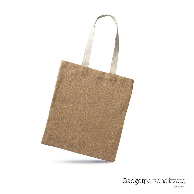 Shopper in juta Juhu con con manici di cotone cm38x40