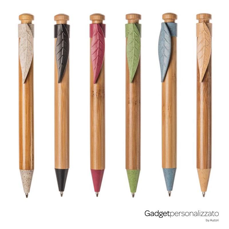 Penna a sfera in bambù e paglia di grano