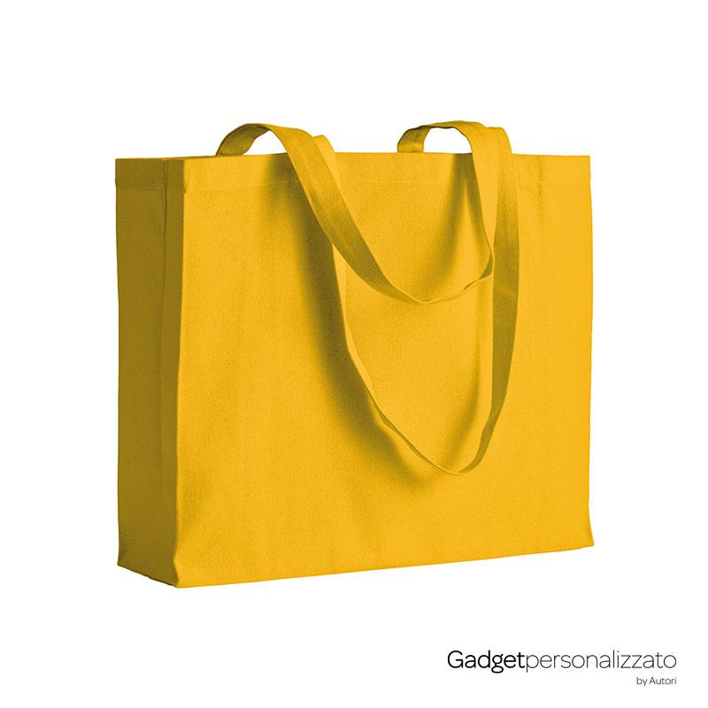 Shopper con soffietto in cotone 200 g/m2 manici lunghi cm 40x35