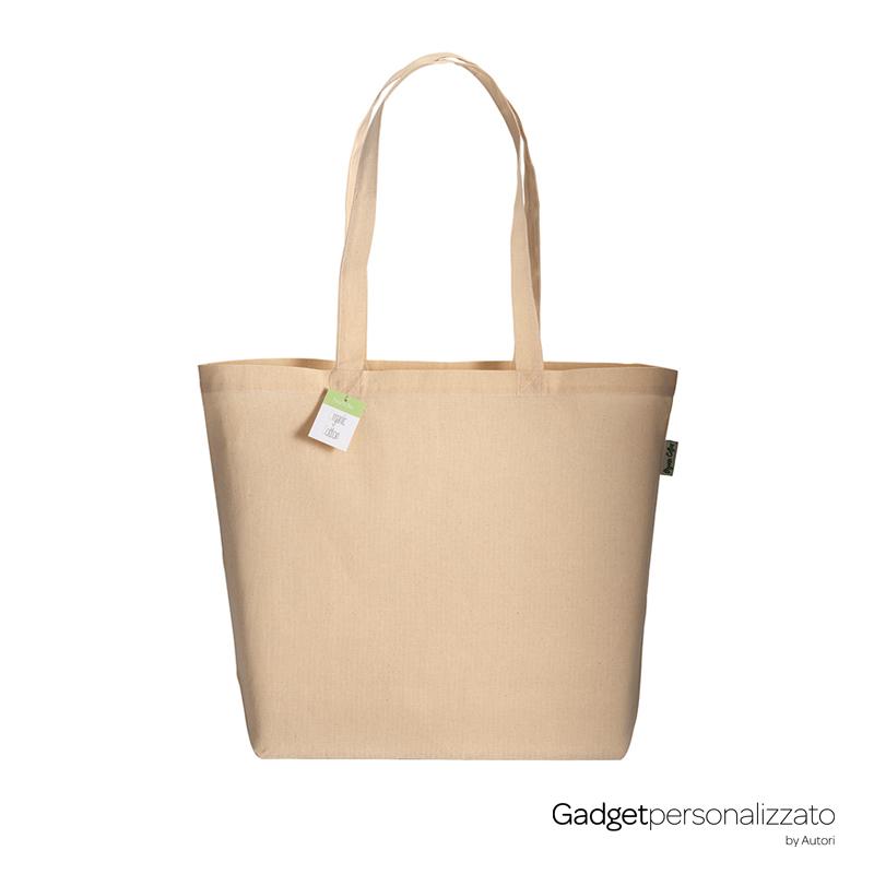 Shopper in cotone organico 135 gr/m2 manici lunghi e soffietto alla base cm 50x38x15