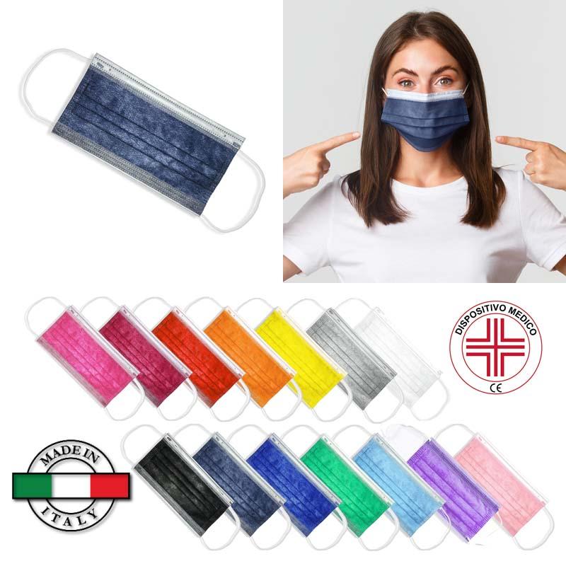 Mascherina chirurgica colorata Classe I, Tipo IIR, CE, Made in Italy