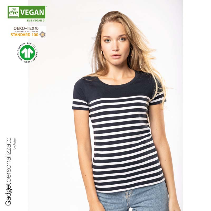 T-shirt donna in stile marinaro Bio girocollo K3034_2021.jpg