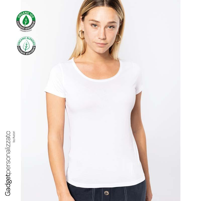 T-shirt donna Bio con bordi a taglio vivo