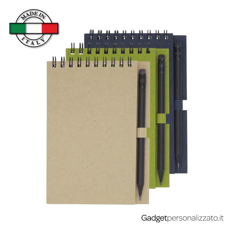 Notes piccolo Luciano Eco con matita - formato 10,5x14,5 - Made in Italy