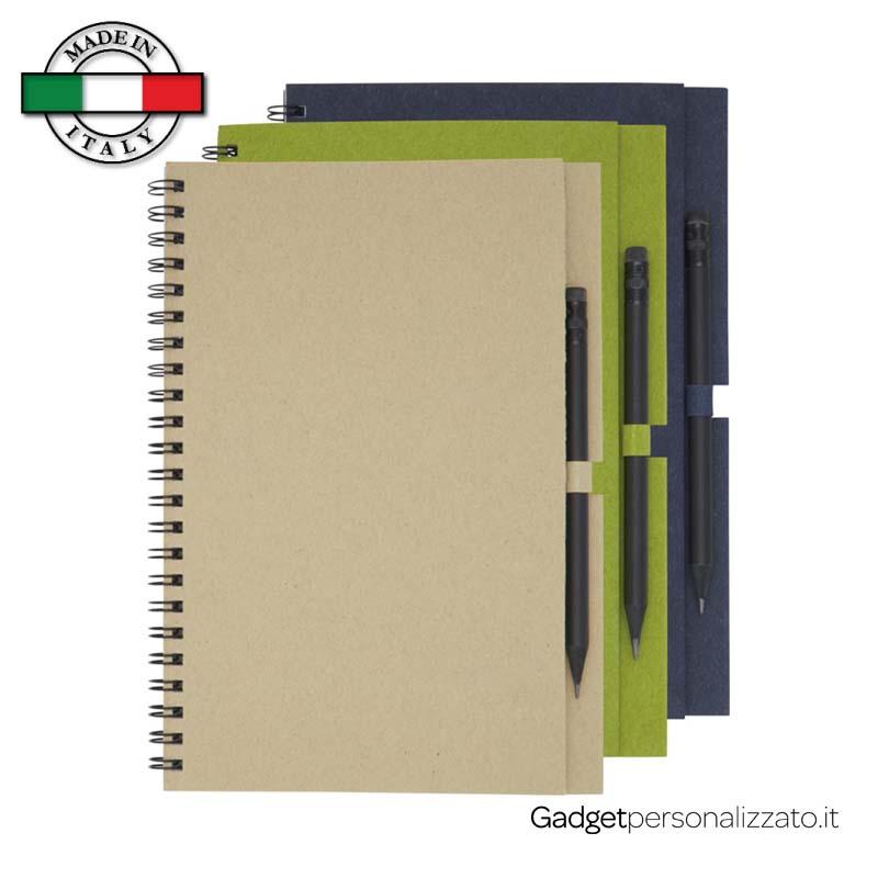 Notes medio Luciano Eco con matita - formato 12,5x20,3 - Made in Italy