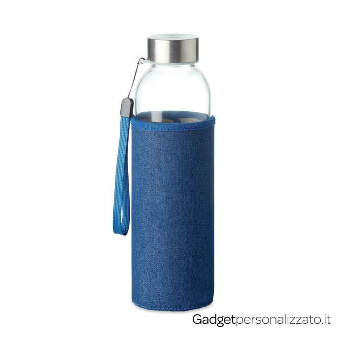 Borraccia in vetro Utah Denim con custodia in neoprene effetto denim 500 ml