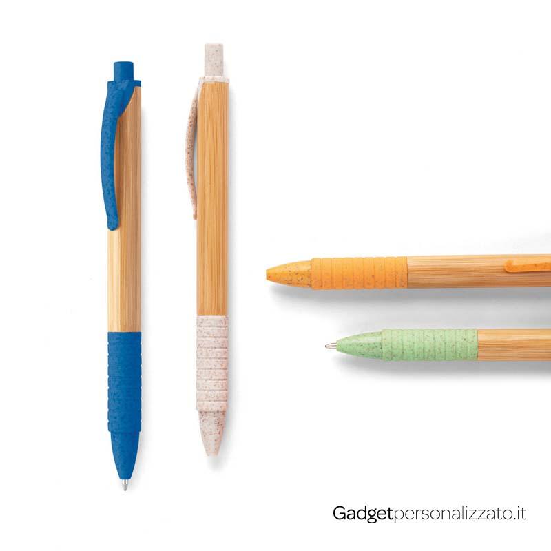Penna a sfera Kuma in bambù e fibra di grano con grip antiscivolo