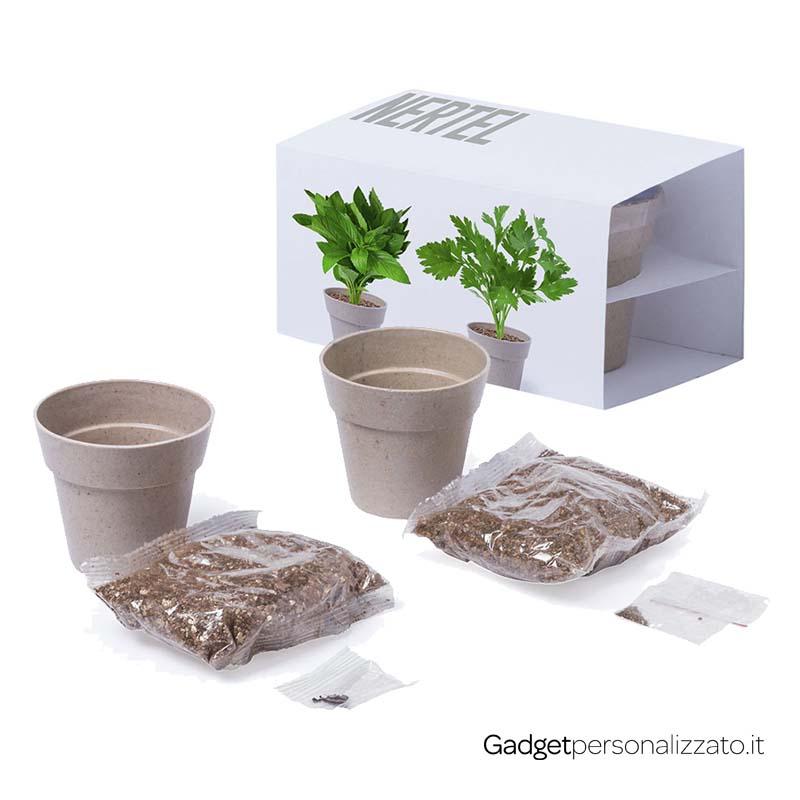 Set Vasetti Nertel con semi di menta e prezzemolo