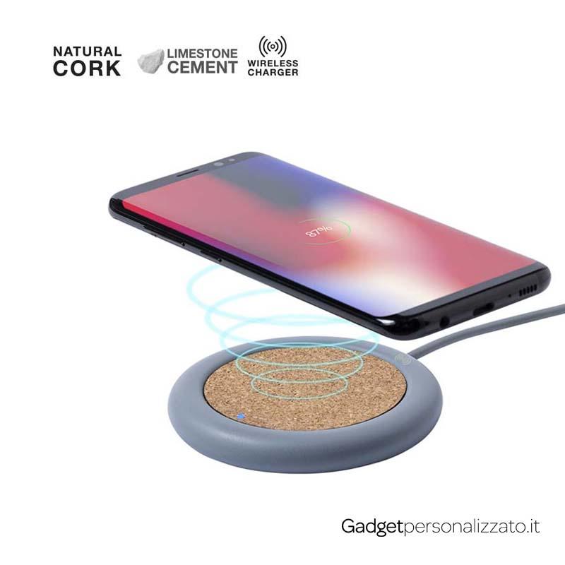 Caricabatterie wireless in pietra calcarea e sughero