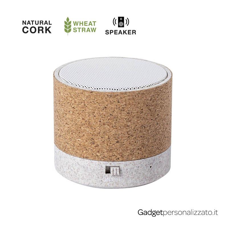 Speaker Bluetooth Nerel con cassa in sughero e fibra di grano