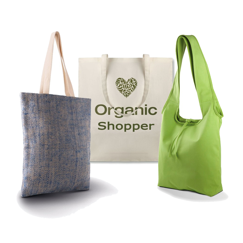 Shopper in fibre naturali e materiali riciclati